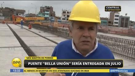 Castañeda aseguró que las obras del puente Bella Unión culminarán en julio