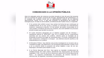 Defensoría del Pueblo llamó a que Tumán contribuya al restablecimiento de la paz