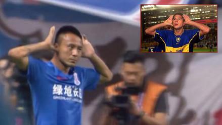 Compañero de Carlos Tevez anotó un gol y celebró como Riquelme
