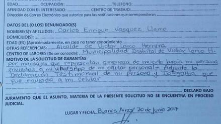 Trujillo: regidor de Víctor Larco pide garantías para su vida