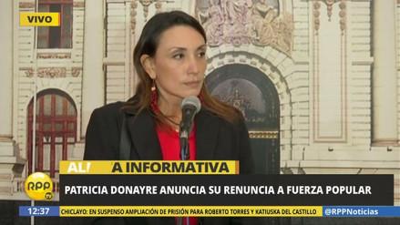 Patricia Donayre renunció a Fuerza Popular