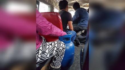 Trujillo: Trasladan balón de gas en vehículo de transporte urbano
