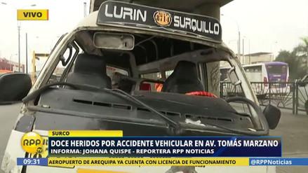 Doce heridos en un accidente de tránsito en Surco