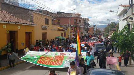 Cocaleros del Vraem llegaron a Huamanga en marcha de sacrificio