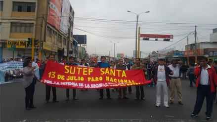 Chimbote: profesores bloquearon céntricas avenidas por paro