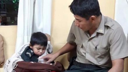 PNP rescata a menor de tres años encerrado en su vivienda