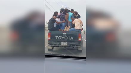 Lambayeque: Imprudentes ciudadanos arriesgan su vida en tolva de camioneta