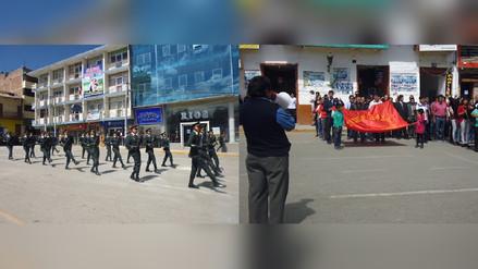 Desfile de Fiestas Patrias en Chota se desarrolló sin escolares
