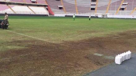 Maltratado y sin césped: así luce el campo del Estadio Nacional