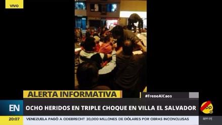 Pasajeros escapan por las ventanas tras triple choque en Villa El Salvador