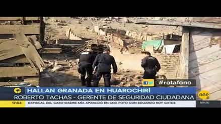 Huarochirí: Ciudadanos encontraron una granada en un terreno abandonado