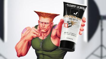 Guile, de Street Fighter, promociona un gel para el cabello en Japón