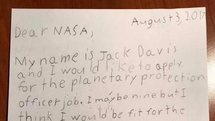 Un niño envió una carta para trabajar como guardián de la galaxia y la NASA respondió