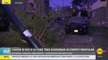 Un coche fuera de control derribó un árbol y un poste en San Isidro
