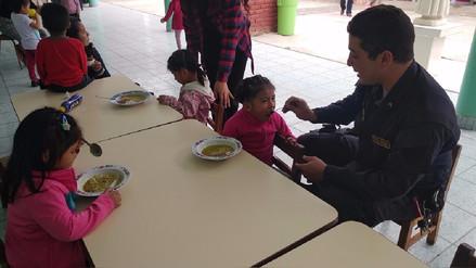 Policía llevó alegría a niños de albergue de Ferreñafe
