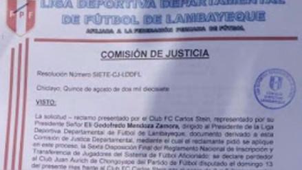 Comisión de Justicia de Fútbol quita puntos al Aurich de Chongoyape