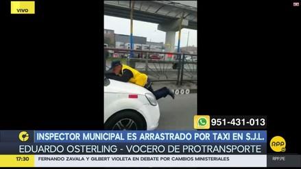 Inspector municipal es arrastrado por un taxi en SJL