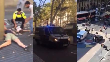 Videos | El caos que ocasionó el atentado terrorista en Barcelona