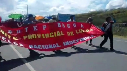 Profesores de Amazonas se movilizaron por la carretera Belaúnde Terry