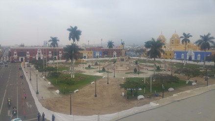 Continúan las obras en la plaza de armas de Trujillo