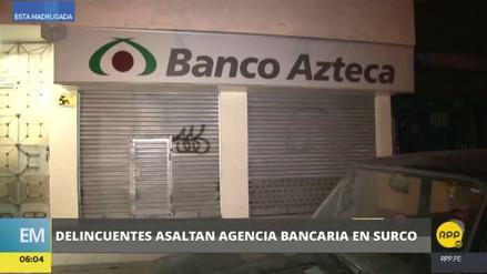 Delincuentes asaltaron una agencia bancaria en Surco