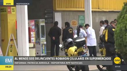 Delincuentes roban una vitrina de celulares de un supermercado de Independencia