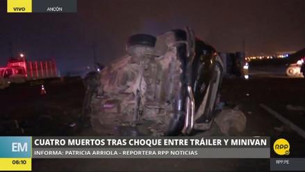 Cuatro muertos por el choque de un tráiler contra una miniván en Ancón