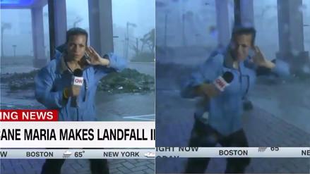 Reportera de CNN fue arrastrada por los vientos del huracán María en Puerto Rico