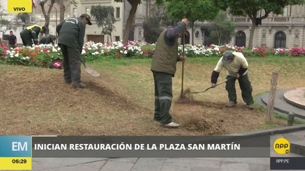 Inician la restauración de la Plaza San Martín, dañada por huelguistas
