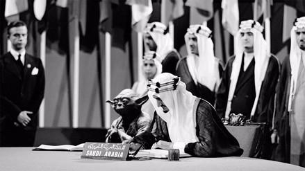 Arabia Saudita incluyó por error una foto de Yoda al lado del rey en libro escolar