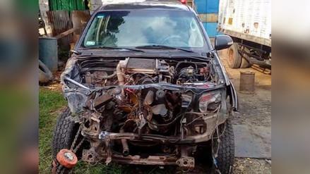 Hallan abandonada camioneta accidentada de la municipalidad de Perené