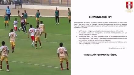 La FPF se pronunció sobre hechos de violencia en partido de Copa Perú
