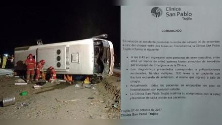 Trujillo: 8 heridos de accidente donde murió Kike Paz se recuperan en clínica