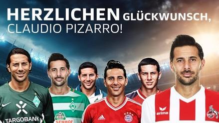 El afectuoso saludo de la Bundesliga a Claudio Pizarro por su cumpleaños