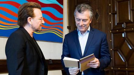 Mauricio Macri recibió en la Casa Rosada a Bono de U2