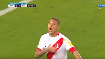 ¡Grítalo Perú! Paolo Guerrero anotó un golazo de tiro libre a David Opsina