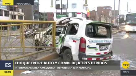 Tres heridos en el choque de una combi contra un taxi en Independencia