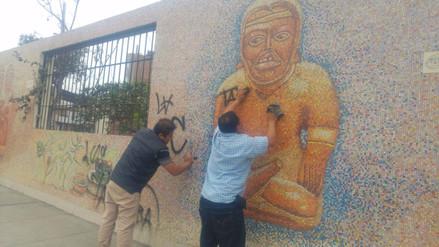 Limpiaron mural artístico pintarrajeado por hinchas de Sport Boys