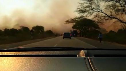 Incendio forestal afecta el tránsito en la carretera Piura- Chulucanas
