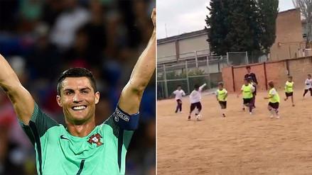 Cristiano Ronaldo se sorprendió con un golazo de su hijo y lo hizo viral