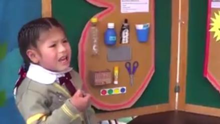 Una niña de cuatro años sorprendió con elocuente exposición en una Feria de Ciencias en Juliaca