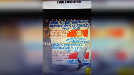Movadef colocó cartel aludiendo al centenario de la Revolución Rusa
