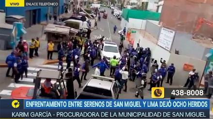Enfrentamiento entre serenos de San Miguel y Lima deja ocho heridos