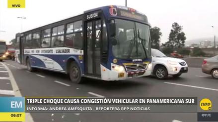 Un triple choque causó gran congestión vehicular en la Panamericana Sur