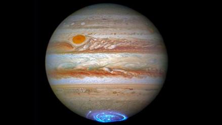 Astrónomos descubren una aurora pulsante en el sur de Júpiter
