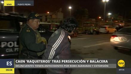 Capturan a cuatro raqueteros tras persecución y balacera en Puente Piedra