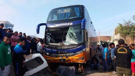 Tres muertos dejó choque de bus contra mototaxi en Pisco