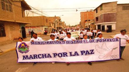 Masiva marcha por la paz se realizó en Pomalca
