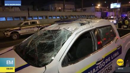 Un patrullero del Serenazgo de Lima protagonizó un violento accidente de tránsito