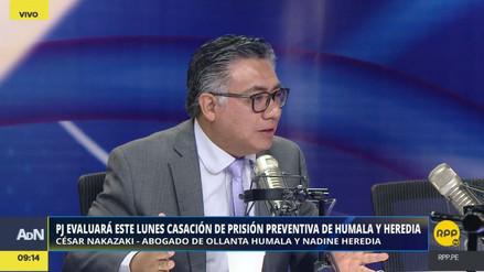 """Nakazaki: """"No hay razones jurídicas para mantener la prisión preventiva a Humala y Heredia"""""""